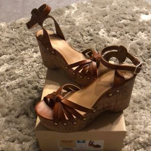 Mossimo Brown Cork Wedges